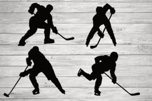 Print on Demand: Hockey Player Silhouette Graphic Illustrations By rayan