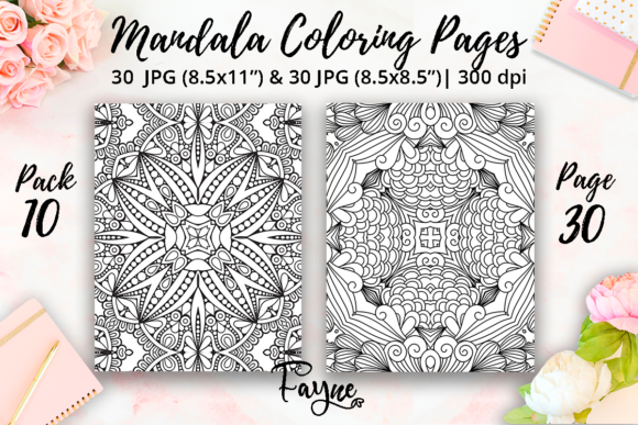 Print on Demand: Mandala Adult Coloring Pages Pack 10 Graphic Coloring Pages & Books Adults By Fayne