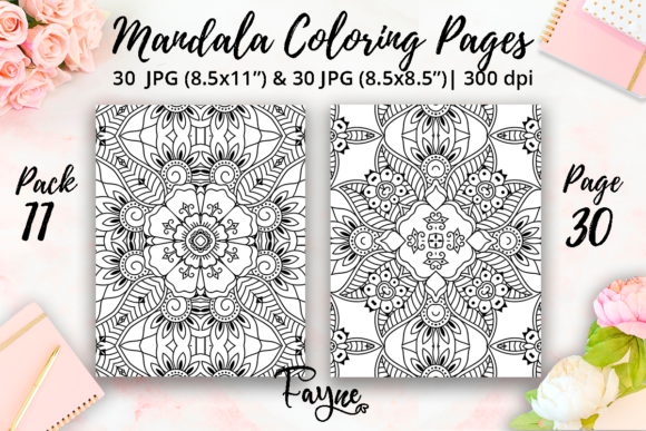 Print on Demand: Mandala Adult Coloring Pages Pack 11 Graphic Coloring Pages & Books Adults By Fayne