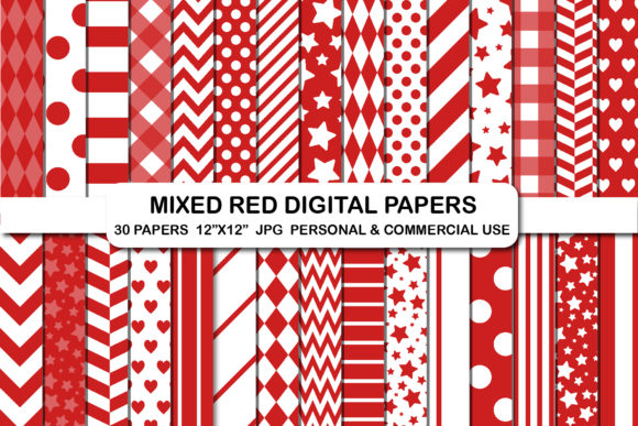 Mixed Red Digital Papers Candy Cane Gráfico Fondos Por bestgraphicsonline