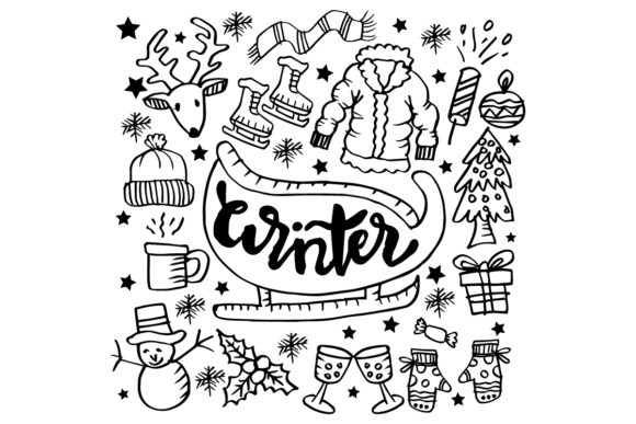 Set of Winter Doodle Graphic Illustrations By han.dhini