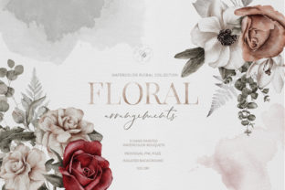 Print on Demand: Watercolor Flower Arrangement Roses PNG Graphic Illustrations By Busy May Studio