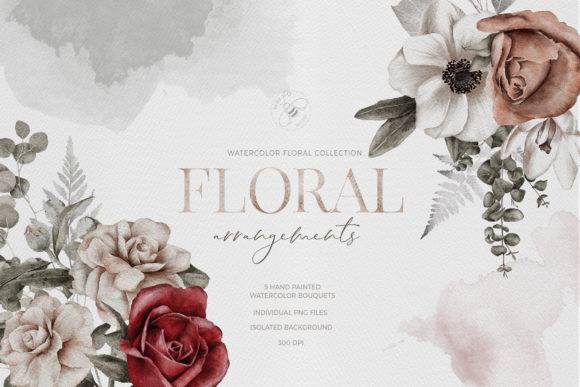 Watercolor Flower Arrangement Roses PNG Graphic Illustrations By Busy May Studio