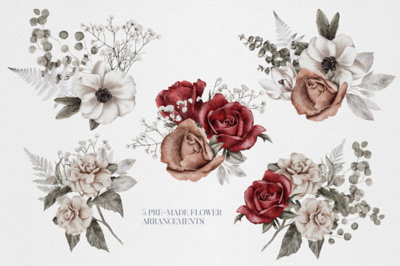 Watercolor Flower Arrangement Roses PNG Graphic Item