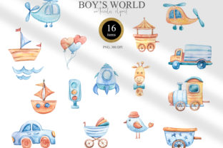 Print on Demand: Watercolor It's a Boy Clipart. Nursery Graphic Illustrations By Tiana Geo