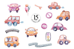 Print on Demand: Watercolor Nursery Cars Clipart Graphic Illustrations By Tiana Geo