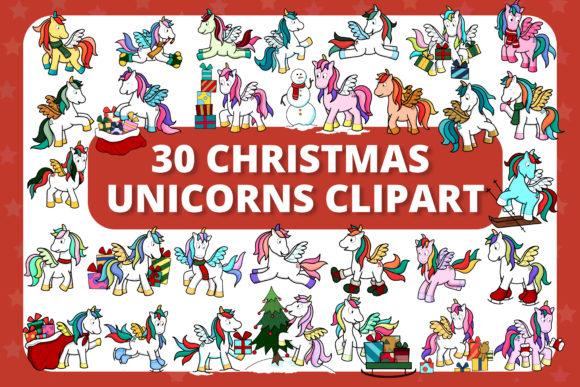 Print on Demand: 30 Cute Christmas Unicorns Clipart Pack Graphic Illustrations By MikeToon Studio