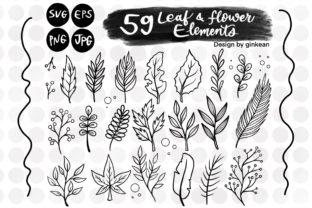 Print on Demand: 59 Leaf and Flower Elements Graphic Graphic Templates By Ginkean