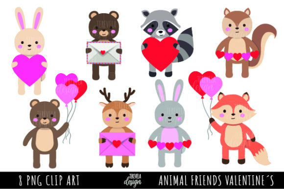 Animal Friends Valentine's Day Graphic Illustrations By tere_velasco