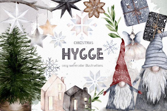 Hygge Christmas Watercolor Illustrations Graphic Illustrations By Busy May Studio