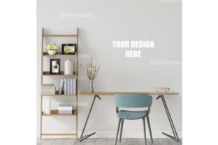 Bookcase with Desk Poster Mockup Graphic Product Mockups By VNMockupStudio
