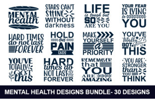 Print on Demand: Mental Health Quotes Svg Design Bundle Graphic Print Templates By MR_Graphics