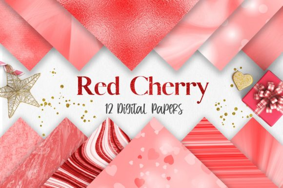 Red Cherry Background Digital Papers Graphic Backgrounds By PinkPearly