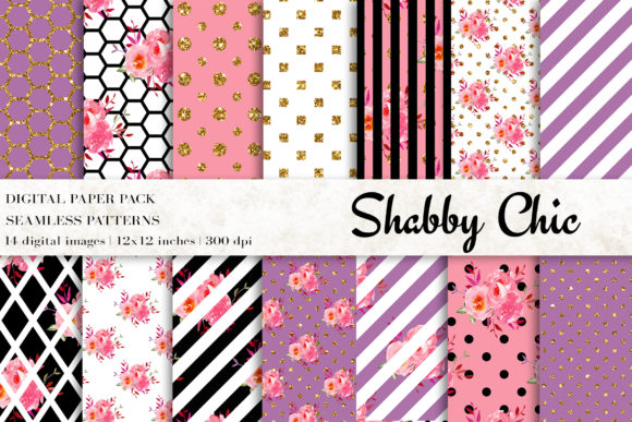 Shabby Chic Digital Papers Graphic Patterns By BonaDesigns