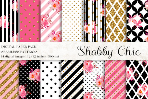 Shabby Chic, Floral Digital Papers Graphic Patterns By BonaDesigns