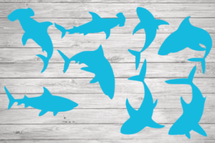 Print on Demand: Shark Silhouette, Shark Clipart Graphic Illustrations By rayan