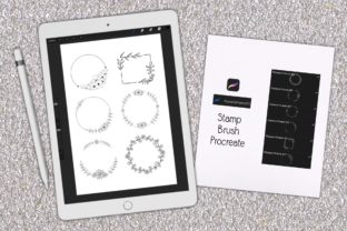 Print on Demand: Stamp Brush Procreate | Flowers Frame 01 Graphic Brushes By 18CC