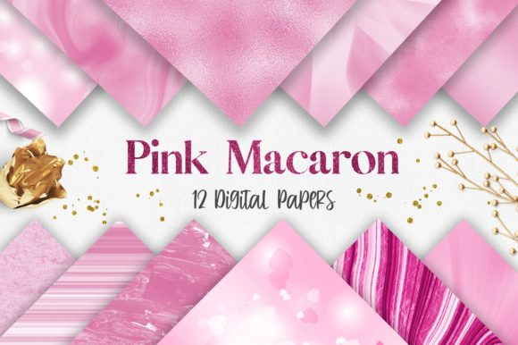Valentine Pink Macaron Digital Papers Graphic Backgrounds By PinkPearly