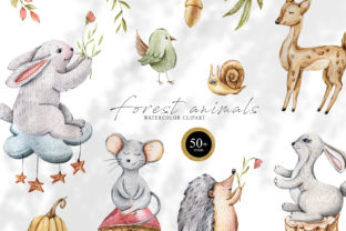 Print on Demand: Watercolor Cute Animals Clipart Graphic Illustrations By Tiana Geo
