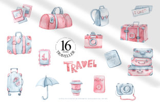 Print on Demand: Watercolor Travel Clipart. Bags, Cameras Graphic Illustrations By Tiana Geo
