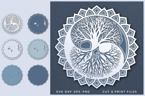 Yin Yang, Tree of Life, Layered SVG Graphic