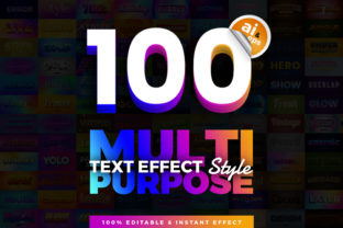 Print on Demand: 100 in 1 Bundle Multipurpose Text Effect Graphic Layer Styles By diqtam