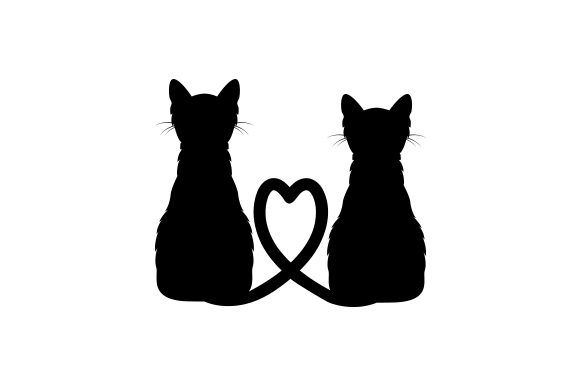 Cats with Tails Forming a Heart Animals Craft Cut File By Creative Fabrica Crafts
