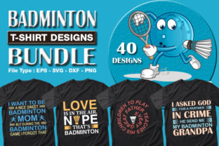 Print on Demand: 40 Badminton T-shirt Designs Bundle Grafik Druck-Templates von CraftStudio