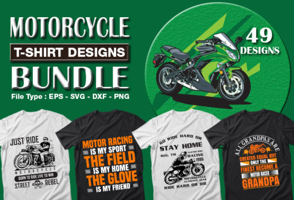 Print on Demand: 49 Motorcycle T-shirt Designs Bundle Graphic Print Templates By CraftStudio