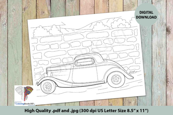 A Classic Car in Red Color Coloring Page Graphic Coloring Pages & Books Adults By ColoringBooks101