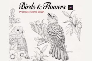 Birds and Flowers Stamp for Procreate Graphic Brushes By tasmalee.art