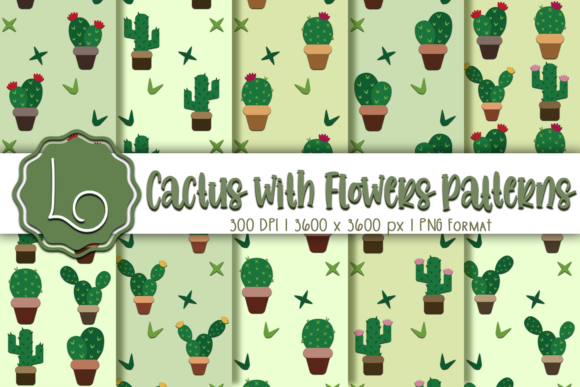 Print on Demand: Cactus with Flowers Patterns Graphic Patterns By La Oliveira