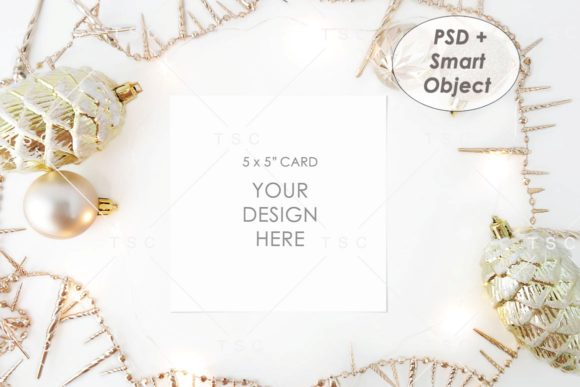 Christmas Card Mockup / 5″ X 5″ Card Graphic Product Mockups By thesundaychic