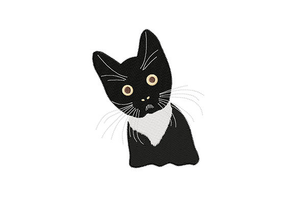 Print on Demand: Cute Black Kitten Cats Embroidery Design By EmbArt