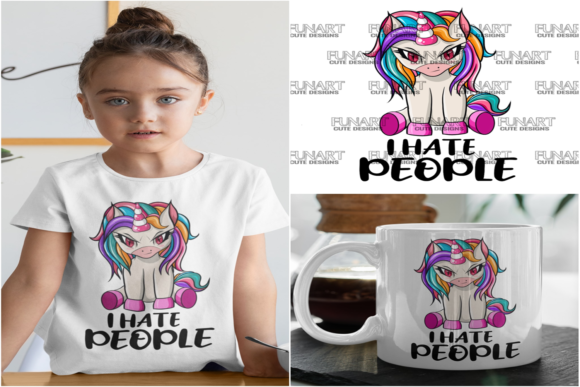 I Hate People Unicorn Graphic Crafts By Fundesings