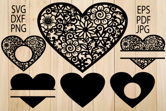 Print on Demand: Floral Hearts, Heart Frames Graphic Crafts By yulnniya