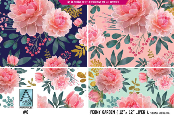Print on Demand: Floral Peony Seamless Pattern 4 in One Graphic Patterns By adlydigital