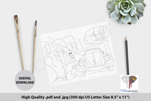Gorilla Near the Car in Jungle Graphic Coloring Pages & Books Adults By ColoringBooks101