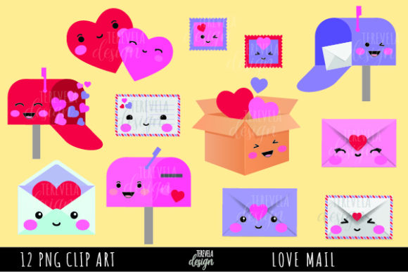 Happy Mail, Valentines Day Graphic Illustrations By tere_velasco