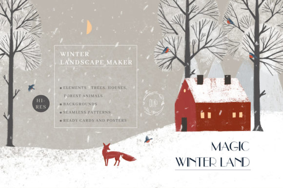 Print on Demand: Magic Winter Land. Landscape Maker Graphic Illustrations By dinkoobraz