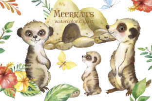 Meerkats Clipart. African Cute Animals. Graphic Illustrations By EvArtPrint