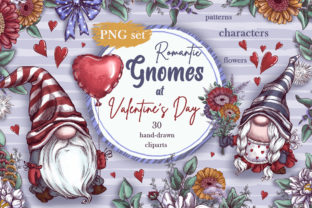 Romantic Gnomes at Valentine's Day. Hand-drawn Clipart. Graphic Illustrations By Maycat 1