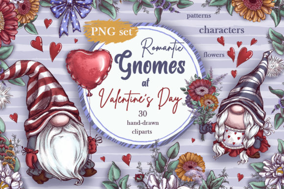 Romantic Gnomes at Valentine's Day. Hand-drawn Clipart. Graphic Illustrations By Maycat