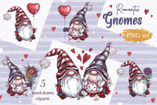 Romantic Gnomes at Valentine's Day. Hand-drawn Clipart. Graphic Illustrations By Maycat 2