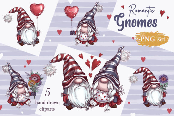 Romantic Gnomes at Valentine's Day. Hand-drawn Clipart. Graphic Download