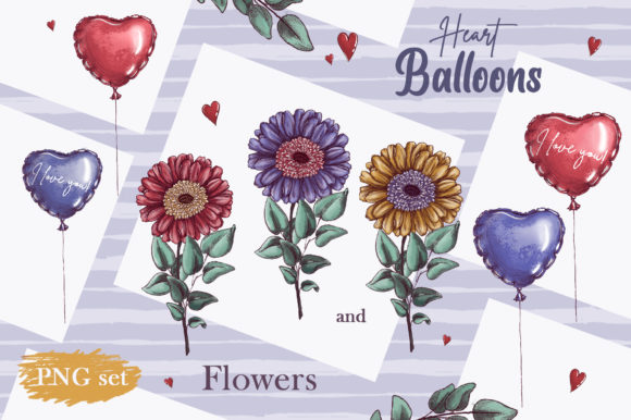 Romantic Gnomes at Valentine's Day. Hand-drawn Clipart. Graphic Preview