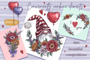 Romantic Gnomes at Valentine's Day. Hand-drawn Clipart. Graphic Illustrations By Maycat 6