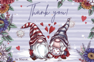 Romantic Gnomes at Valentine's Day. Hand-drawn Clipart. Graphic Illustrations By Maycat 9