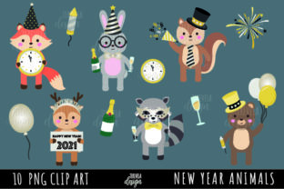 New Year Clipart, Cute Animals Graphic Illustrations By TereVela Design