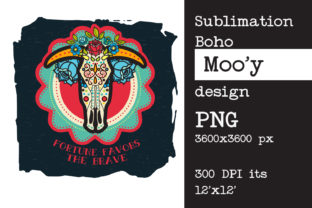 Print on Demand: Sublimation Design Girl Cow Skull Graphic Print Templates By KundolaArt